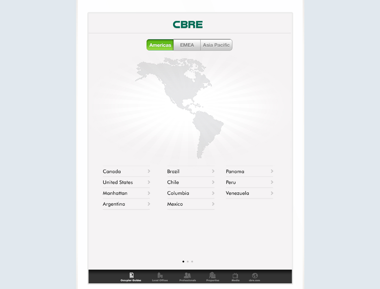 CBRE iOS application on iPad