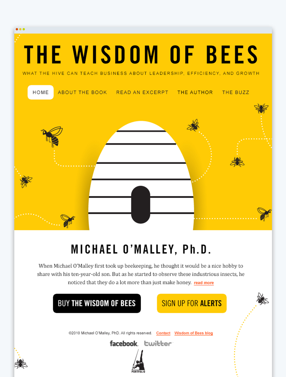 Website promoting The Wisdom of Bees book