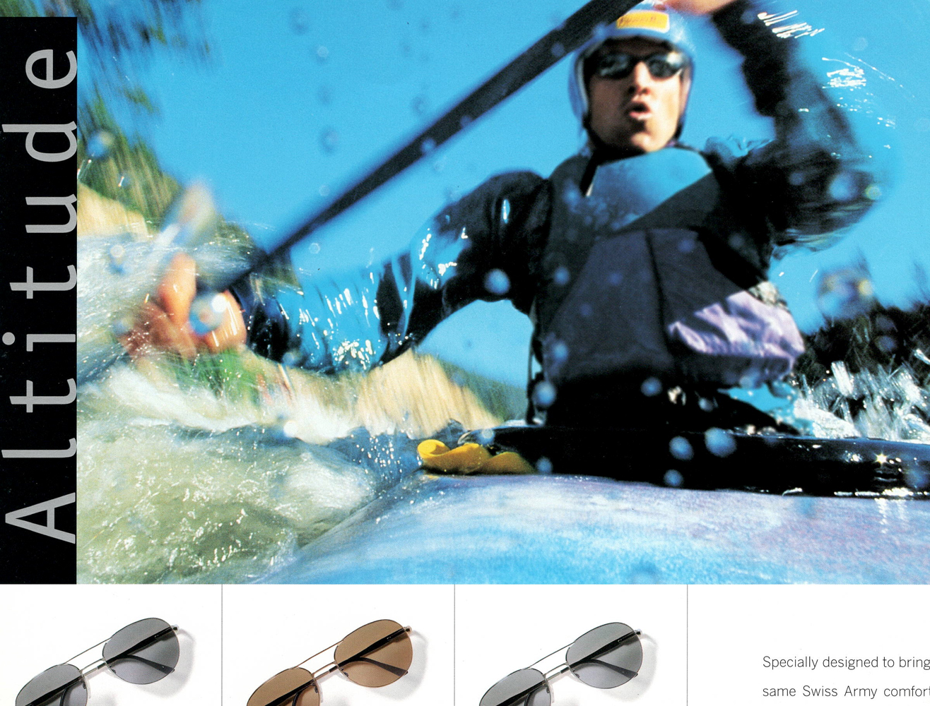 Man in kayak wearing Swiss Army shades