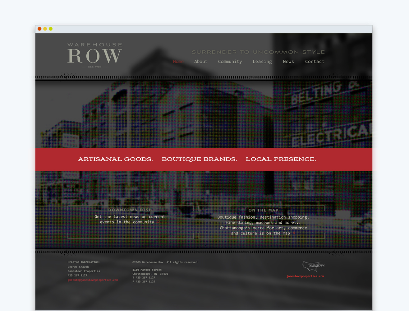 Warehouse Row Website Home Page