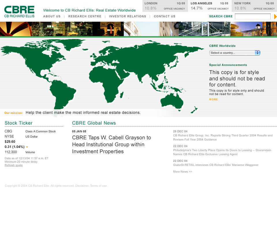 Original CBRE Global website design