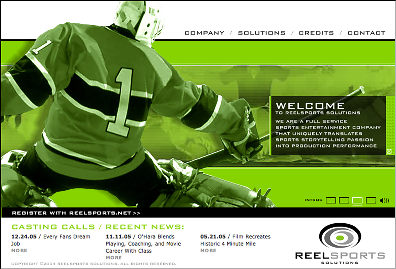 ReelSports flash site design circa 2005