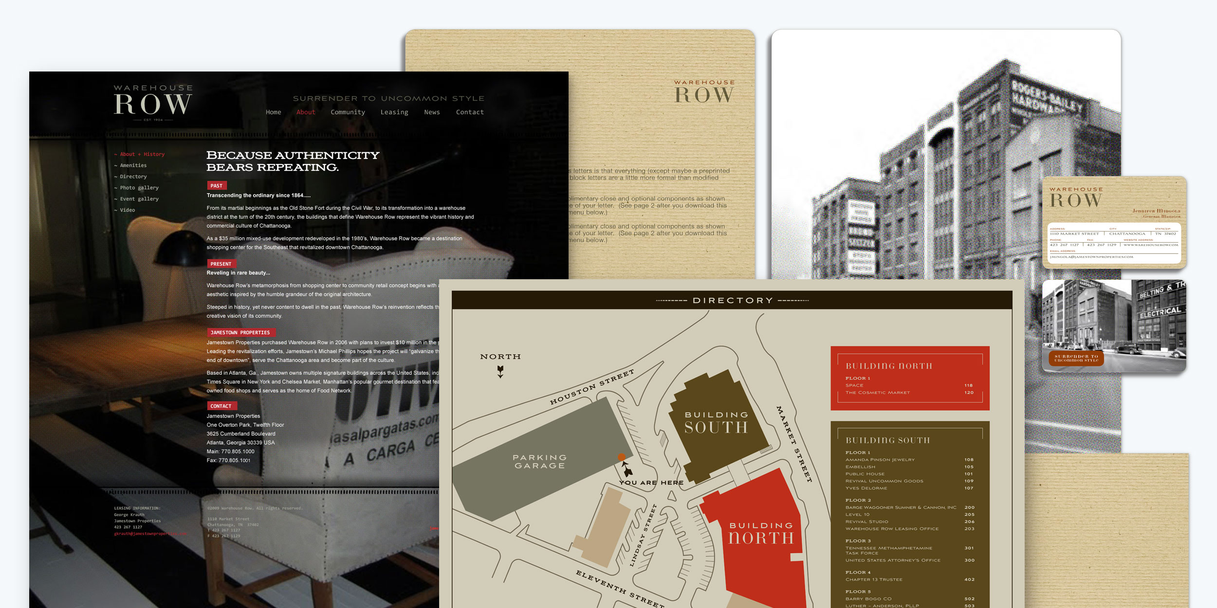 Image collage of Warehouse Row branding materials